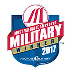 2017 Most Valuable Employer Military Winner.